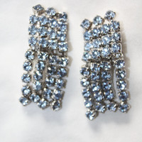 Vintage Blue Rhinestone Earrings Drop Dangle 1950s Jewelry