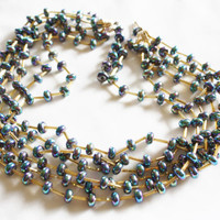 Vintage Necklace Blue Iridescent Multi Strand 1950s Jewelry