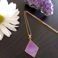 Gorgeous Natural Druzy Stone. necklace. Violet. Electroformed gold dipped.