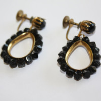 Vintage Black Earrings Hoop Drop Dangle 1940s  Jewelry