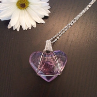 Beautiful 42g Natural Amethyst Crystal Heart Wire Wrapped. Your choice of chain.