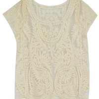 Beige Crochet Lace Short Sleeve Mesh T-shirt - Choies.com