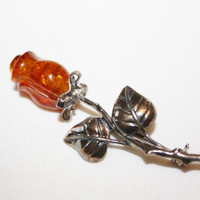 Baltic Amber Brooch Sterling Rose  Vintage 1940s Jewelry