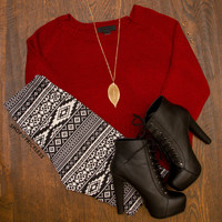 Lola Crop Sweater - Red