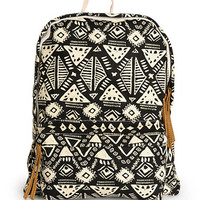 Trillium Black Tribal Canvas Backpack