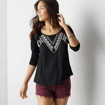 AEO EMBROIDERED PEASANT TOP