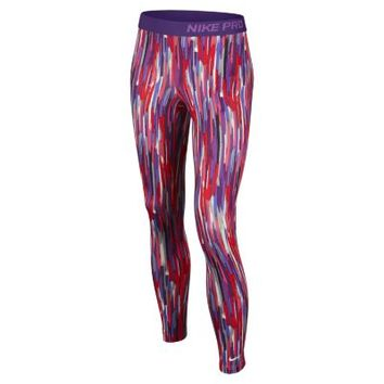 Nike Pro Hyperwarm Compression Allover Print Girls' Tights - Hyper Punch