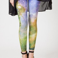 Galaxy Print Leggings in Green - Retro, Indie and Unique Fashion