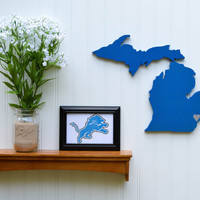 """Detroit Lions """"State Heart"""" wall art, handcrafted wood featuring official team colors"""