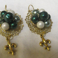 CLEARANCE, EMERALD ISLE-Earrings Designed With Upcycled Vintage Jewelry, Was 15.00, Now 10.00