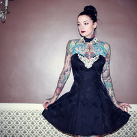Vintage 80's 90's Prom Cocktail Choker Dress Lace Rose Floral Goth Strapless