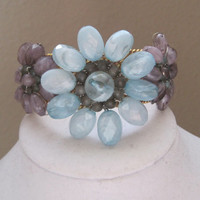 CLEARANCE-FLOWER POWER-Cuff Bracelet Designed With Vintage Upcycled Jewelry, Was 40.00, Now 30.00