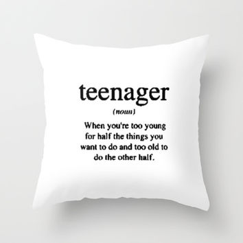 Teenager. Throw Pillow by Sjaefashion  Society6