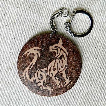TRIBAL CAT two sided pyrography personalized wooden key chain