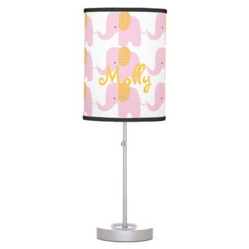 Pink and Orange Baby Elephant Table Lamp