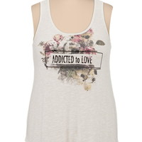addicted to love lace back plus size tank