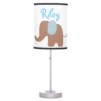 Chocolate and Blue Baby Elephant Table Lamp