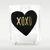 XOXO x Gold Shower Curtain by Leah Flores