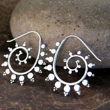 Fractal Spiral Silver Earrings