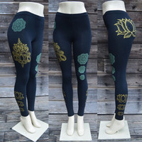 Gold Lotus Flower and Glow in the Dark Mandala Leggings  - Yoga Wear - Sacred Geometry - Black