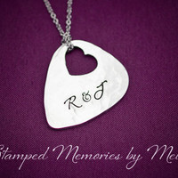 Initials - Hand Stamped Keychain - Guitar Pick Necklace with Heart Cut Out - Music Lover Gift - Present for Him or Her - Personalized