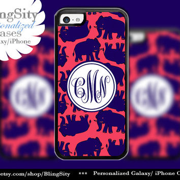 Elephants Monogram iPhone 5C case / iPhone 5 5s Case / iPhone 4  Case Personalized Navy Coral Red Rubber or Plastic