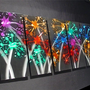 Nite Lites 64x24 Large Abstract Modern Metal Wall Art Sculpture Original Contemporary Painting textured Decor Fine Art by Nider