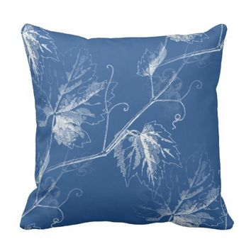 Vintage White Grapevine Blue Pillow