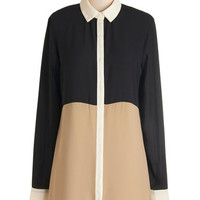 ModCloth Colorblocking Long Long Sleeve Modern Tradition Top