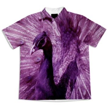 Purple Peacock Short Sleeve Blouse created by ErikaKaisersot | Print All Over Me