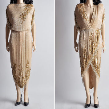 nude BOB MACKIE beaded fringe grecian deep v dress / s