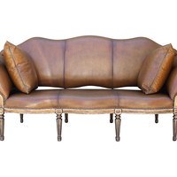 Leather-Upholstered Sofa/Bench