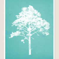 Tree Digital Watercolor Print Blue Background by PigmentPunch