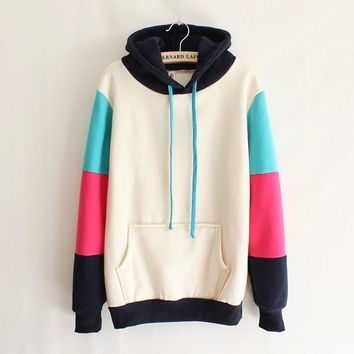 Mixed Colors Hooded Sweater gray