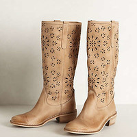 Cactus Flower Perforated Boots by Alissia Neutral