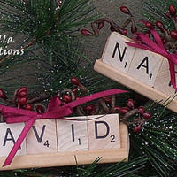 Personalized Scrabble Tile Ornament with Tile Tray - 2 to 5 Letters