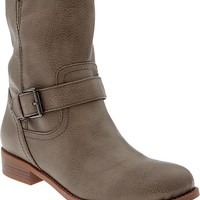 Women's Faux-Leather Moto Boots