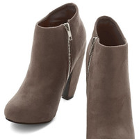 ModCloth Urban Taupe of Your Game Bootie