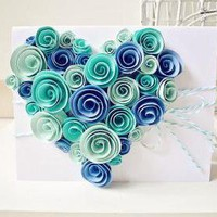 Heart-shaped Swirl Flower Card  on Luulla