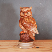 Vintage Owl Statue / Large Brown Ceramic Owl / 1970&#x27;s