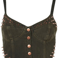 MOTO Khaki Studded Bralet - Denim  - Clothing