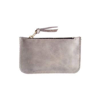 Grey leather credit card holder purse by Leah Lerner