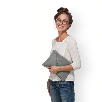 GRAY Leather purse, leather clutch bag, zipper clutch by Leah Lerner