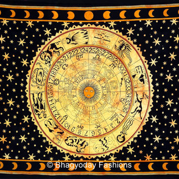 ASTROLOGY Horoscope Zodiac Hippie Hippy Indian Tapestry Wall Hanging Throw Cotton Bohemian Bed Decor…