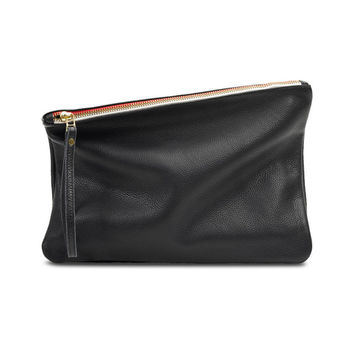 Black fold over clutch, leather fold over clutch, women fold over clutch
