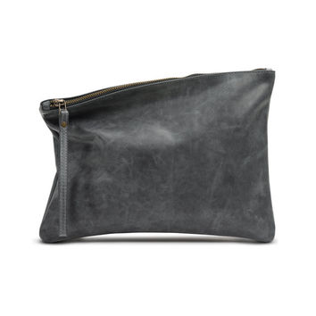 Grey leather foldover clutch, zipper clutch bag, leather purse by Leah Lerner