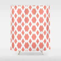 Daffy Lattice Light Coral Shower Curtain by Lisa Argyropoulos | Society6