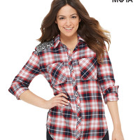 Aeropostale Long Sleeve Sequined Plaid Woven Shirt - Classic Navy,