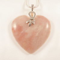 Pink Opal Heart Pendant, Romantic, Jewelry