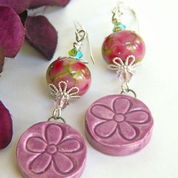 Purple Flower Earrings Lampwork Ceramic Short Dangle Silver Handmade